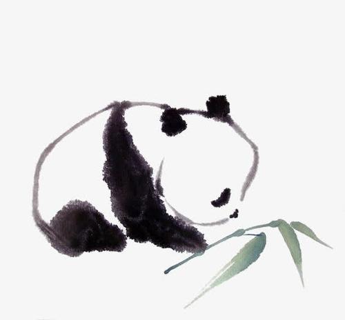 可爱水墨大熊猫图片