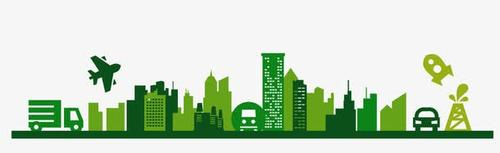 绿色城市环保建筑矢量图