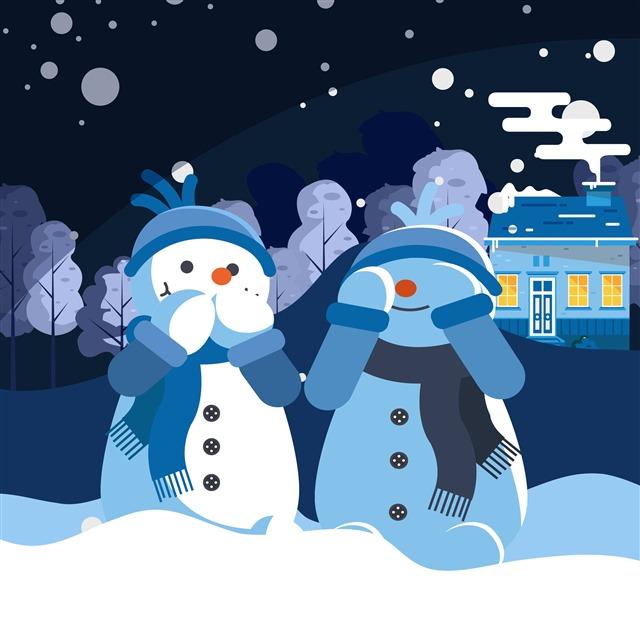 高清圣诞节雪人插画