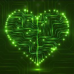 绿色LED心形电路板背景