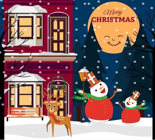 圣诞节窗外夜景插画