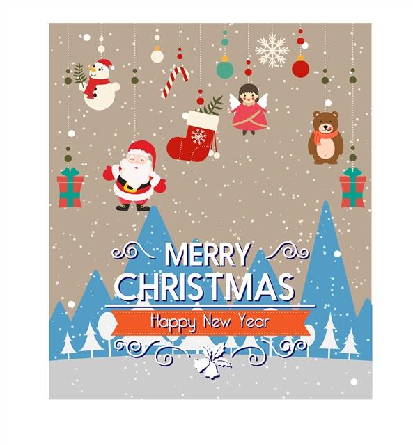 可爱手绘圣诞节祝福卡片