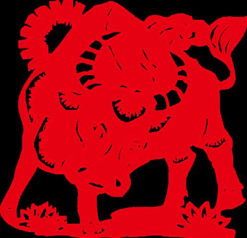 红色剪纸风2021年牛年年画