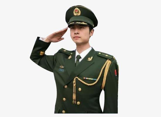 中国军人敬礼免抠摄影图