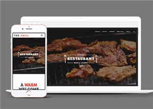 黑色精品大气响应式烤肉店餐厅网站模板