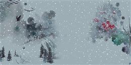 古风雪景水彩画