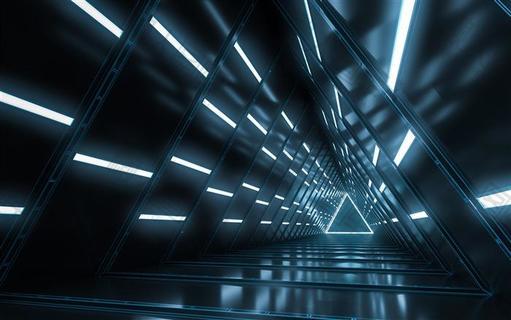 黑色三维隧道科技感背景