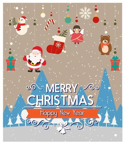 圣诞节日贺卡插画