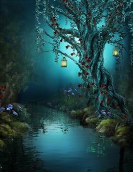 森林小溪幽静背景