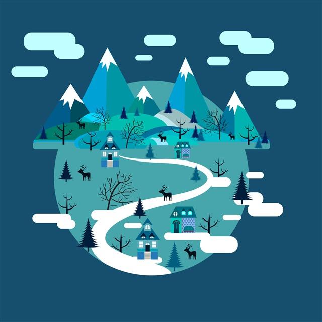 冬季圣诞节森林元素插画