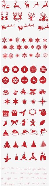 红色圣诞剪纸元素