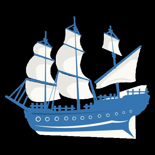 蓝色帆船简笔画