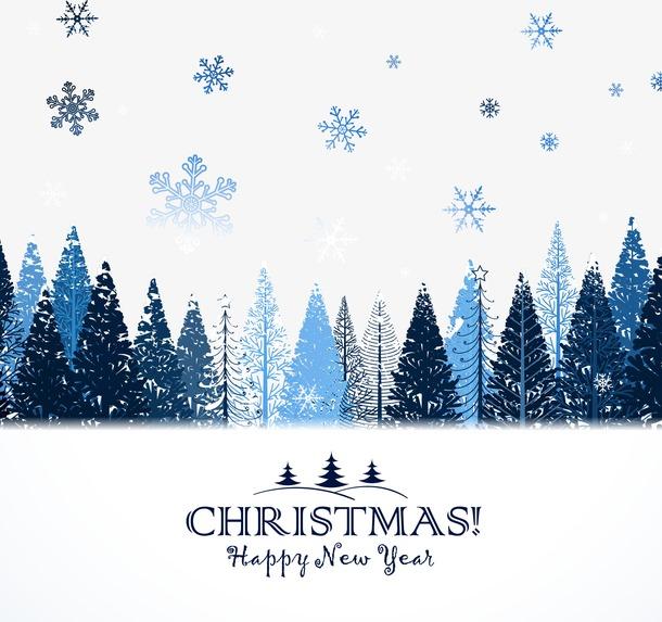蓝色小清新圣诞手绘卡片