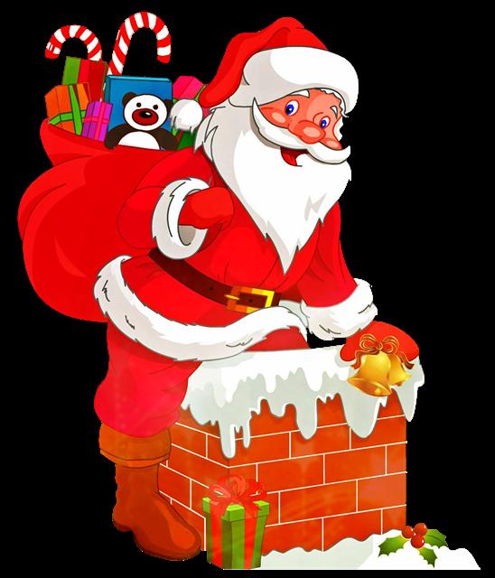 圣诞老人烟囱送礼物插画