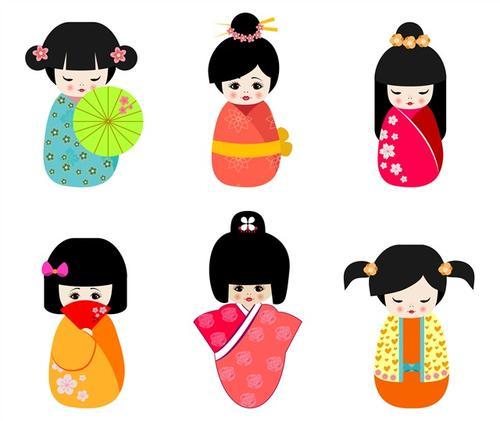 卡通手绘日本和服娃娃