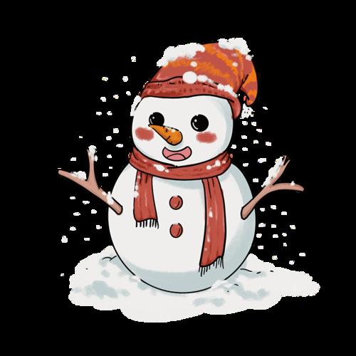 戴围巾的雪人卡通
