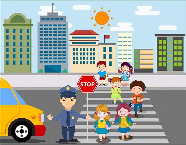 小学生过马路