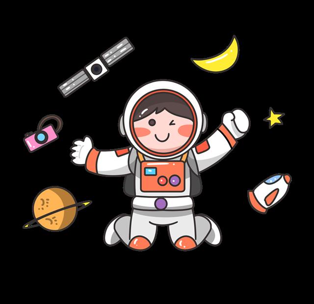 卡通手绘宇航员矢量图