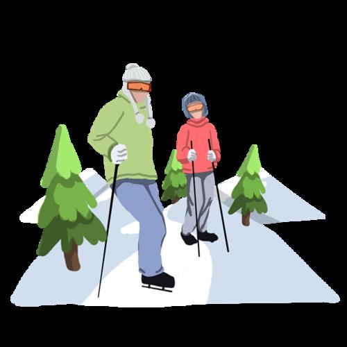 冬季滑雪人物手绘插画