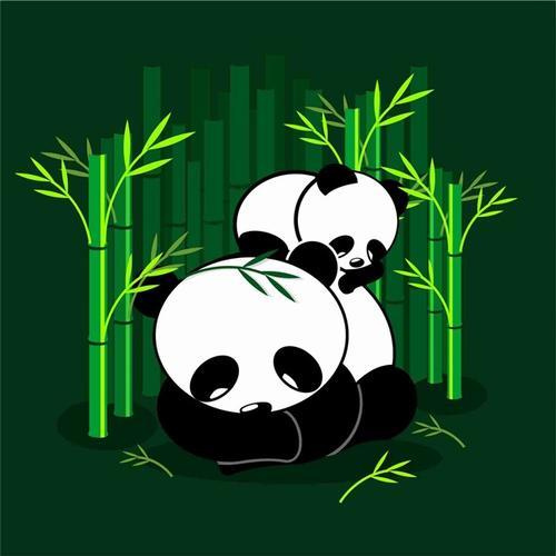 卡通熊猫手绘插画
