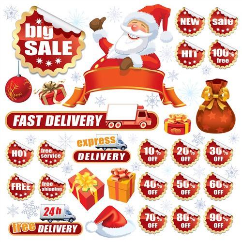 红色圣诞矢量标签