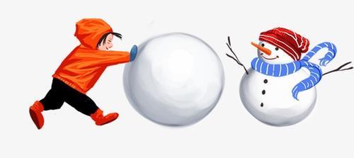 手绘冬至堆雪人插画
