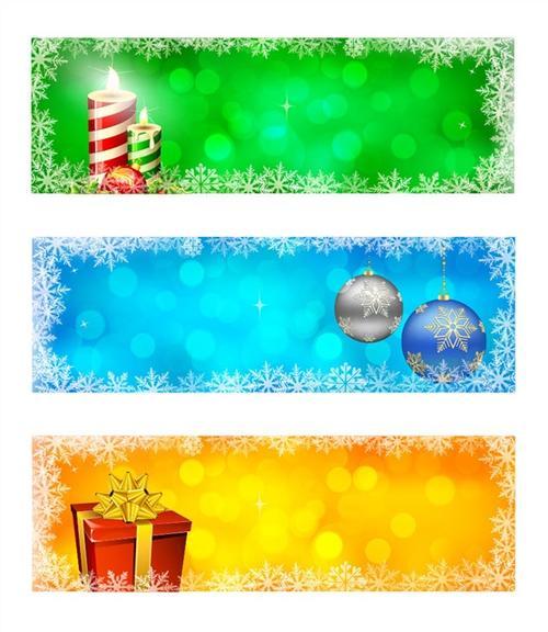 圣诞节彩条标签banner