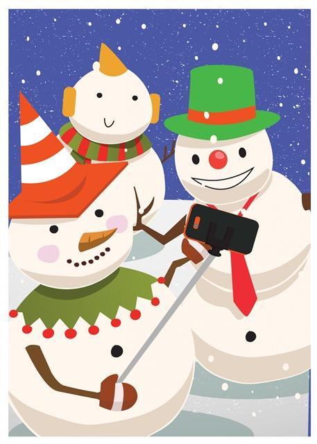 超可爱圣诞雪人插画