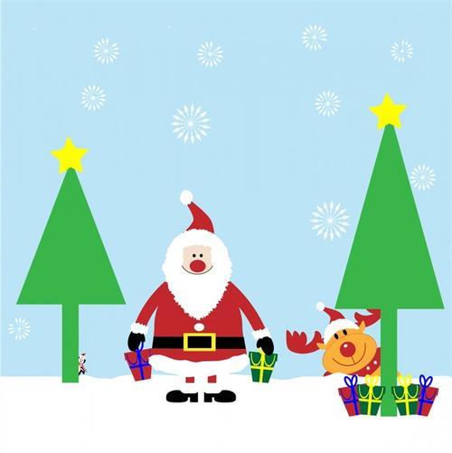 圣诞老人和驯鹿圣诞可爱插画