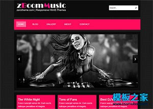 紫色纹理音乐俱乐部手机网站模板