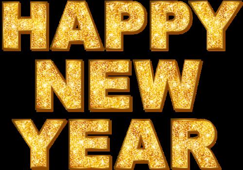 金色闪光新年快乐英文花体字