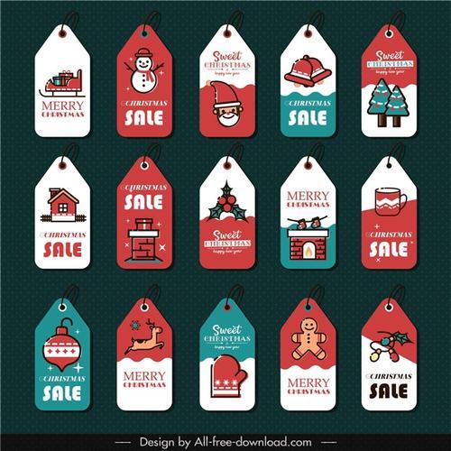 圣诞节标签贴纸矢量图