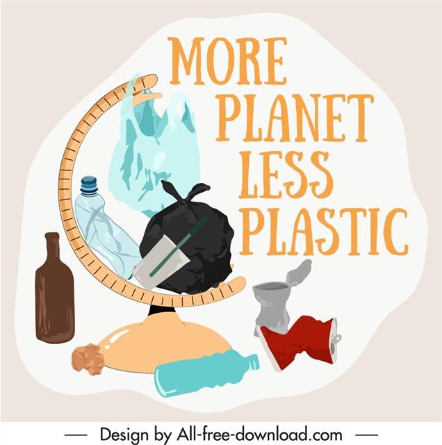 塑料污染卡通插画