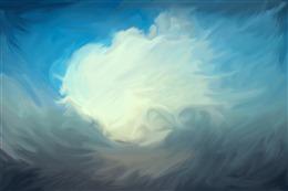 蓝天白云油画