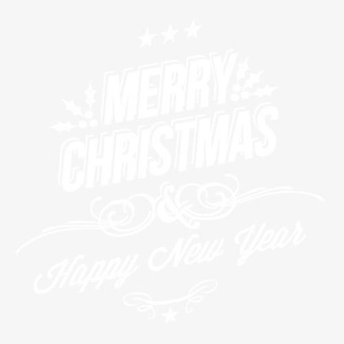 圣诞快乐白色雪花艺术字
