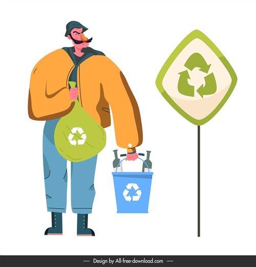 垃圾分类卡通人物插图