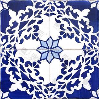 蓝色陶瓷图案背景