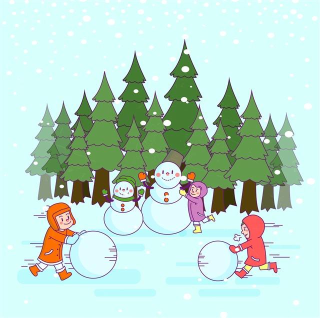 卡通儿童堆雪人插画