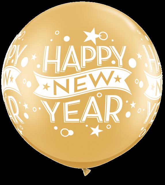 金色新年快乐气球装饰