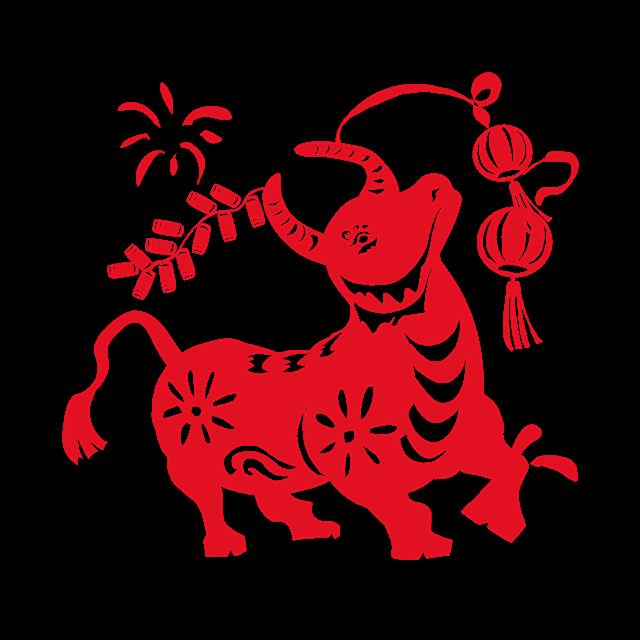 春节红色牛剪纸图案