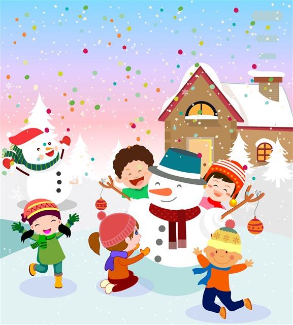 圣诞堆雪人插图