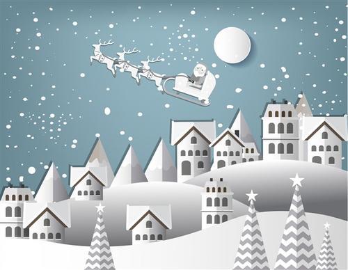 圣诞节下雪的夜晚
