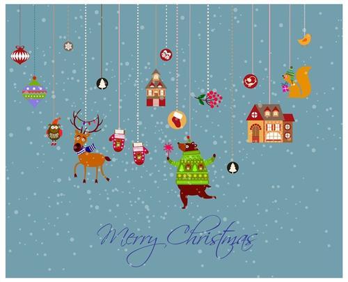 圣诞装饰品卡通插画