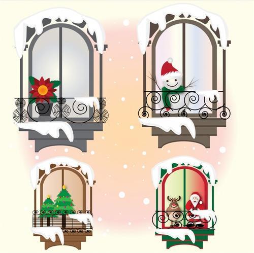 圣诞节冬天窗户插画
