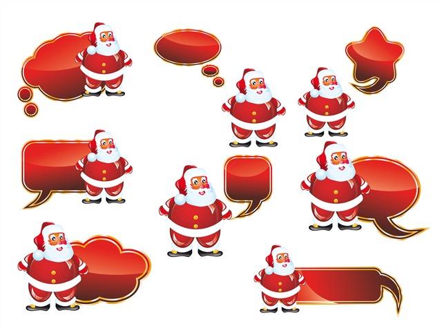 卡通圣诞老人聊天气泡