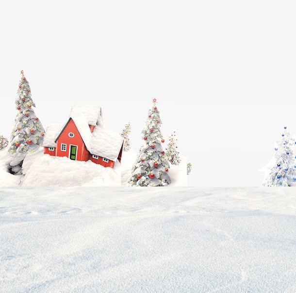 冬至雪景下雪插画
