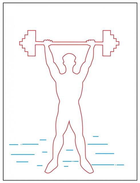 健身举重人物线描