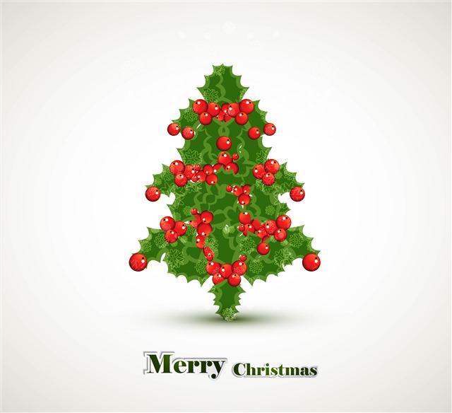 漂亮圣诞树圣诞节日贺卡