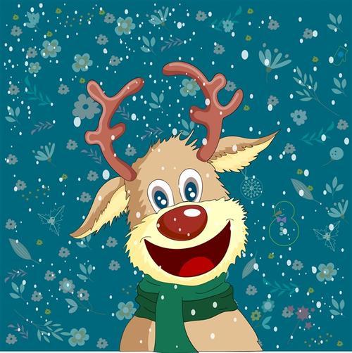 圣诞麋鹿贺卡插画图片