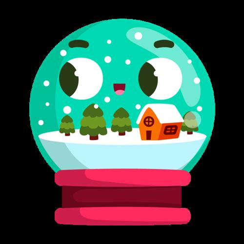 水晶球圣诞插画